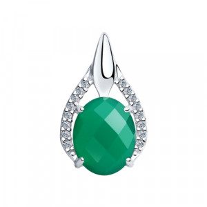 925 Sterling Silver pendants with green agate and cubic zirconia