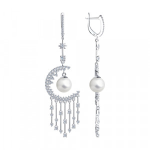 925 Sterling Silver pair earrings with  and pearl