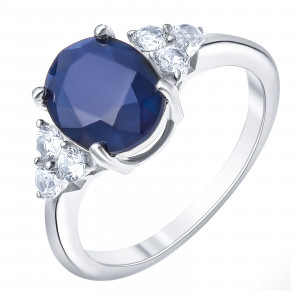 925 Sterling Silver women's rings with white topaz and sapphire