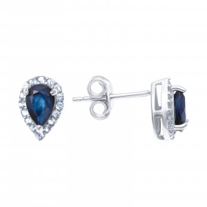 925 Sterling Silver pair earrings with sapphire and white topaz