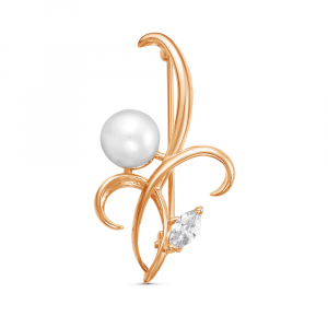 925 Sterling Silver brooches with cubic zirconia and pearl cult.