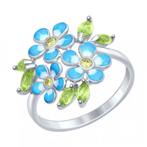 925 Sterling Silver women's rings with cubic zirconia and chrysolite