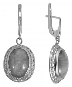 925 Sterling Silver pair earrings with chrysoprase and bullseye