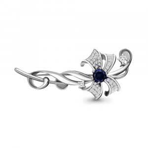 925 Sterling Silver brooches with sapphire gt and cubic zirconia