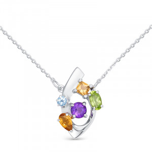 925 Sterling Silver necklaces with topaz and amethyst