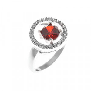 925 Sterling Silver women's rings with synthetic garnet and cubic zirconia