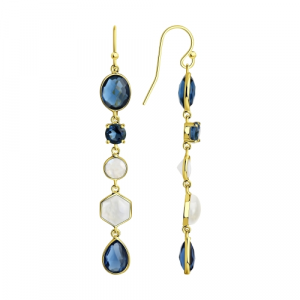 925 Sterling Silver pair earrings with fluorite and iolite