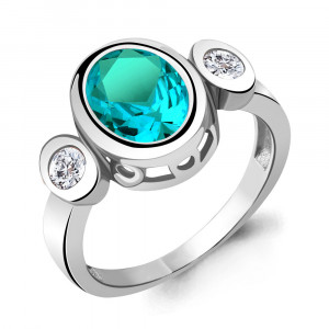 925 Sterling Silver women's rings with nano-tourmaline and cubic zirconia