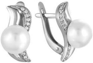 925 Sterling Silver pair earrings with cubic zirconia and pearl cult.