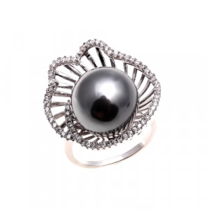 Bijuterii Alloy women's ring with black cultivated pearls