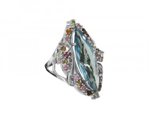 925 Sterling Silver women's rings with topaz gt