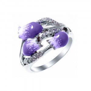 925 Sterling Silver women's ring with enamel