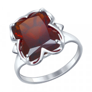 925 Sterling Silver women's rings with sitall and synthetic garnet