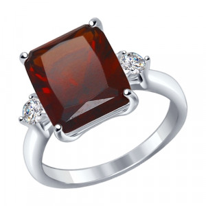 925 Sterling Silver women's rings with synthetic garnet and sitall