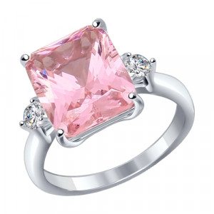 925 Sterling Silver women's rings with morganite hydroterm. and sitall