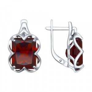 925 Sterling Silver pair earrings with synthetic garnet and sitall