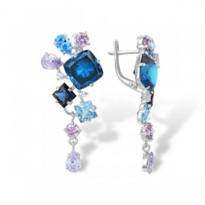 925 Sterling Silver pair earrings with quartz and alpana