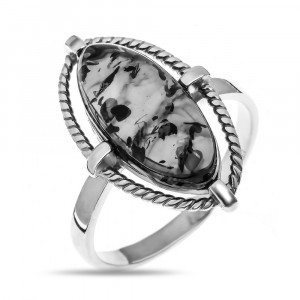 925 Sterling Silver women's rings with amber and