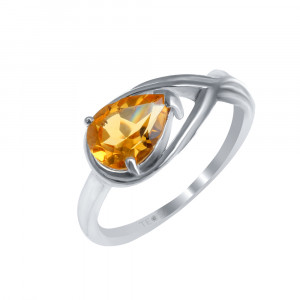 925 Sterling Silver women's ring with citrine