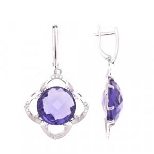 925 Sterling Silver pair earrings with cubic zirconia and quartz pl. amethyst