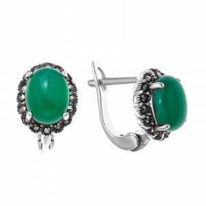 925 Sterling Silver pair earrings with synthetic green agate