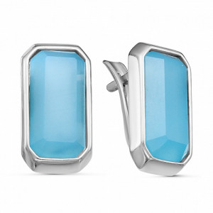 925 Sterling Silver pair earrings with blue agate