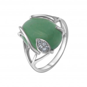 925 Sterling Silver women's rings with chrysoprase and cubic zirconia