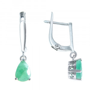 925 Sterling Silver pair earrings with emerald and