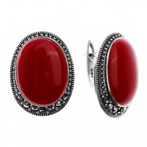 925 Sterling Silver pair earrings with imit. coral and coral