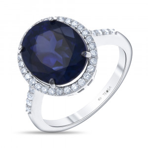 925 Sterling Silver women's rings with sapphire and cubic zirconia