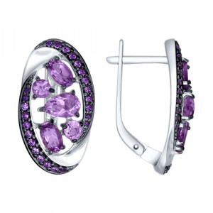 925 Sterling Silver pair earrings with amethyst and topaz