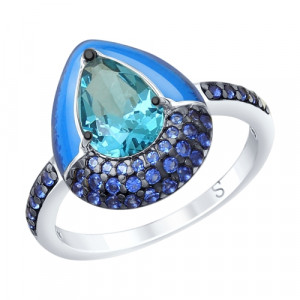 925 Sterling Silver women's rings with cubic zirconia and sitall