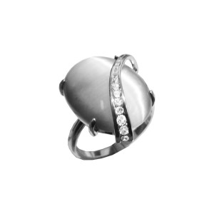 925 Sterling Silver women's ring with coral and chrysoprase