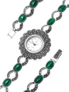 925 Sterling Silver hand watches with green agate and marcasite