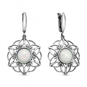 925 Sterling Silver pair earrings with white opal