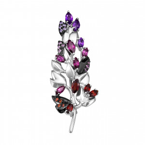 925 Sterling Silver brooches with amethyst and garnet
