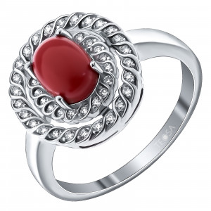 925 Sterling Silver women's ring with synthetic coral and cubic zirconia