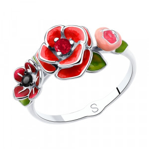 925 Sterling Silver women's rings with synthetic corundum and enamel