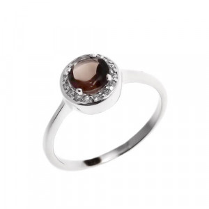 925 Sterling Silver women's ring with rauchtopaz