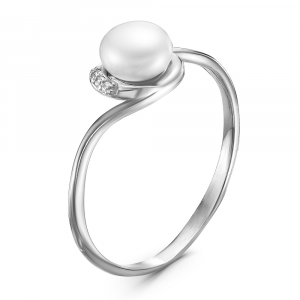 925 Sterling Silver women's rings with pearl cult. and cubic zirconia