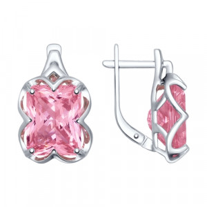 925 Sterling Silver pair earrings with sitall and rhodolite gt