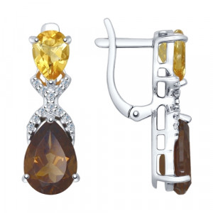 925 Sterling Silver pair earrings with cubic zirconia and citrine