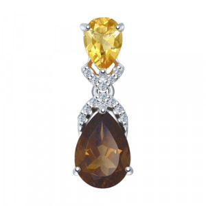 925 Sterling Silver pendants with cubic zirconia and citrine
