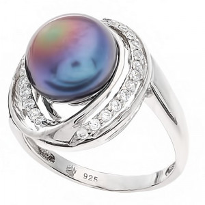 925 Sterling Silver women's ring with black cultivated pearls