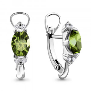 925 Sterling Silver pair earrings with cubic zirconia and chrysolite