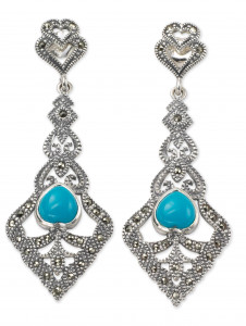 925 Sterling Silver pair earrings with chrysoprase and turquoise