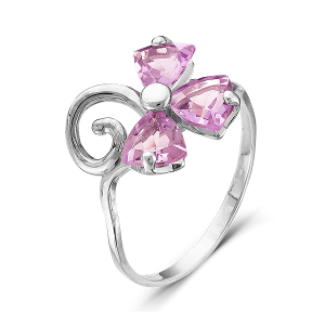 925 Sterling Silver women's ring with chrysolite and amethyst