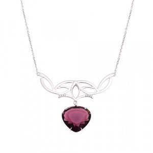 925 Sterling Silver necklaces with quartz pl. rhodolite and cubic zirconia