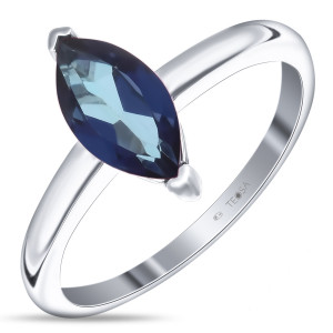 925 Sterling Silver women's ring with topaz indigo