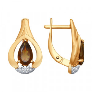 925 Sterling Silver pair earrings with cubic zirconia and rauchtopaz